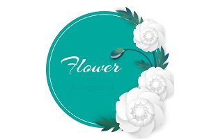Flower vector background with circle and white peony flowers