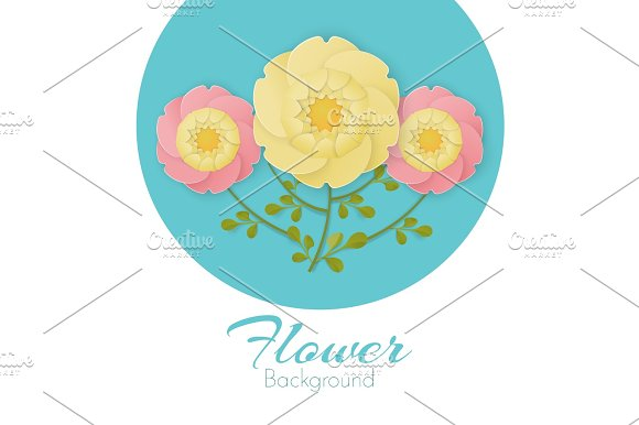 Paper Flowers Background With Exotic Flowers Pink And Yellow Colors