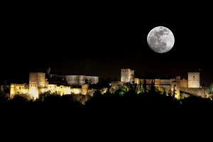 The Alhambra at night and full moon