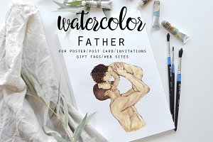 Watercolor Father & Child