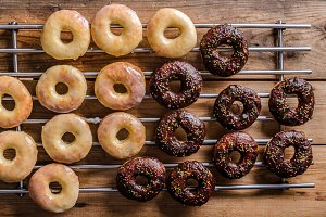 Homemade donuts two kinds