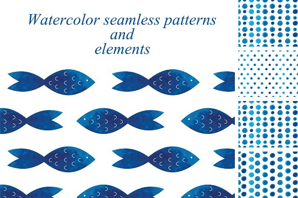 Blue watercolor seamless patterns