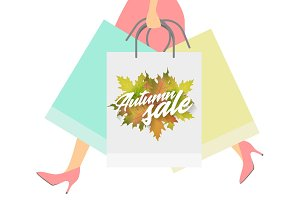 Autumn sale design concept. Woman with paper packets.