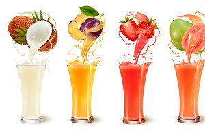 Set of fruit juice splash in a glass