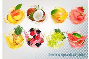 Set of fruit juice splash. Vector