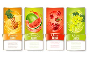 Set of labels of of fruit in juice