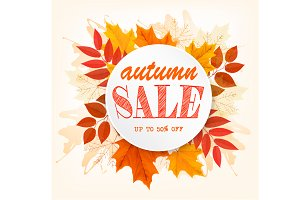 Autumn Sales Banner With Leaves