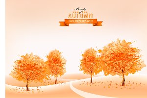 Landscape autumn background. Vector.
