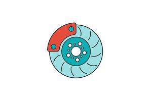 Brake disc flat line icon