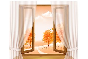Autumn background with open window
