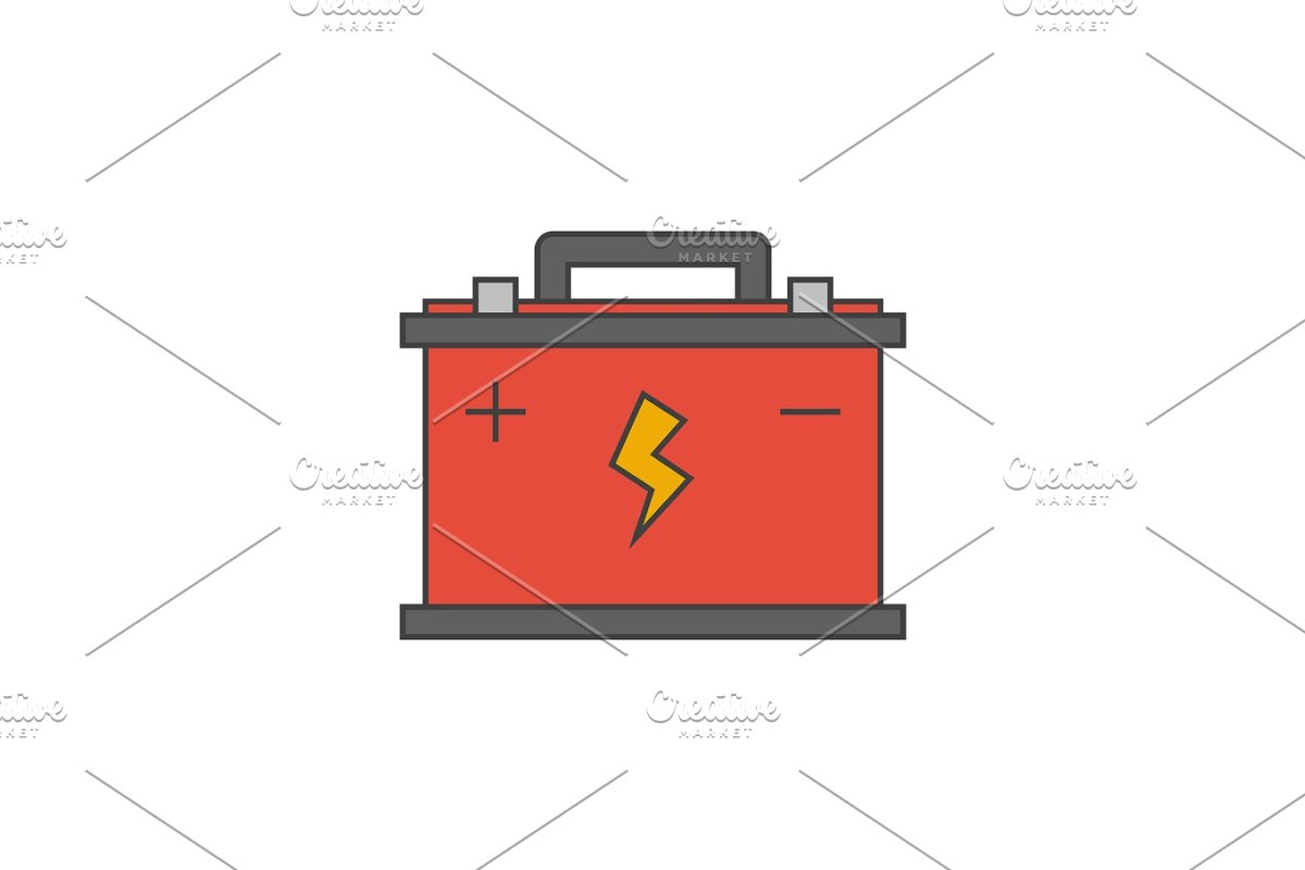 Car Battery Flat Line Icon Icons Creative Market