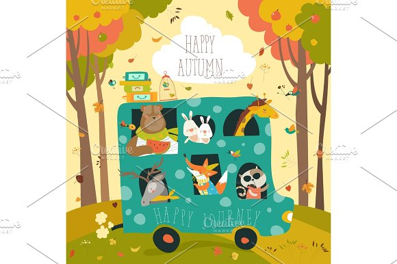 Cute Animals Traveling By Bus