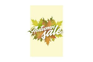 Autumn sale. Template of vector poster. Applicable for design gift card, flyer or placard.