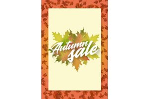 Autumn sale. Template of poster. Applicable for advertising and promotion, season offer, design gift card, flyer or placard.