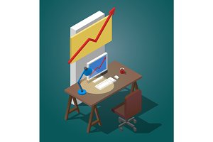 Empty desktop for businessman. Isometric vector illustration. A table with a computer, a cup of coffee, a table lamp.