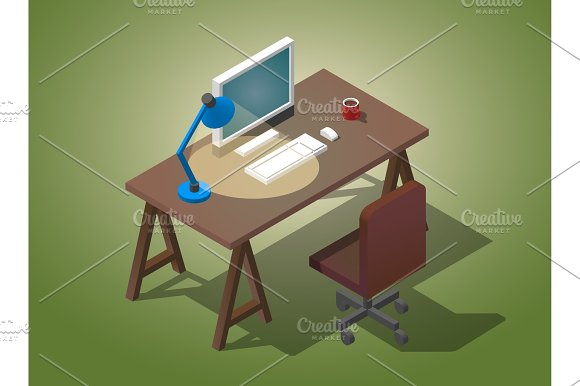 Empty Desktop For Businessman Isometric Vector Illustration A Table With A Computer A Cup Of Coffee A Table Lamp