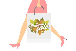 Autumn sale design concept. Woman with paper packets. Vector illustration