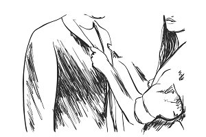 Young man and woman in business clothes. Hand drawn line art cartoon vector illustration.