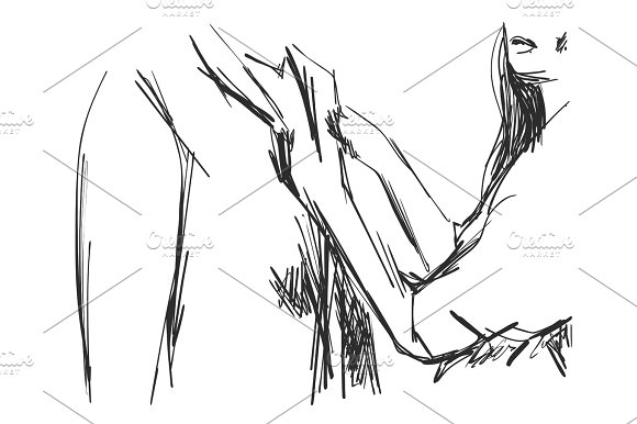 Young Man And Woman In Business Clothes Hand Drawn Line Art Cartoon Vector Illustration