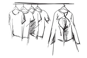 Hand drawn wardrobe sketch
