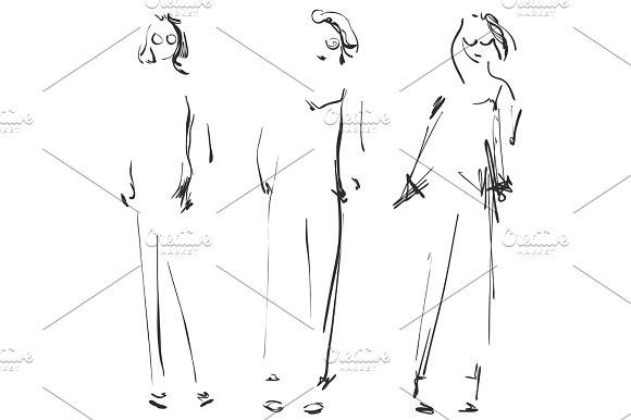Cute Cartoon Girls Models Sketch Fashion