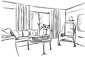 Room interior sketch. Hand drawn sofa.