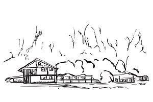 Landscape with Trees and village House. Hand drawn sketch.