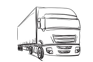 Sketch logistics and delivery poster. Drawn truck.