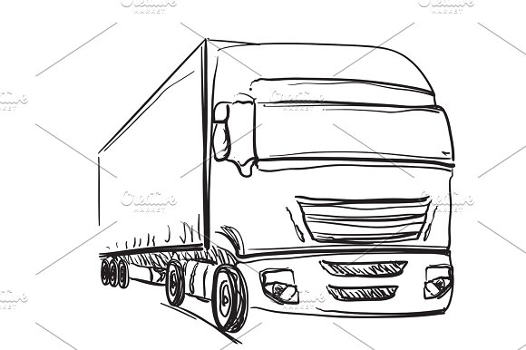 Sketch Logistics And Delivery Poster Drawn Truck