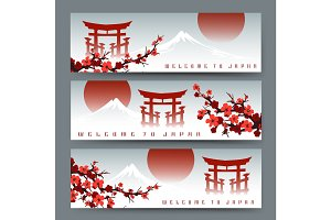 Sakura, fuji mountain and torii banners