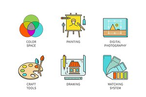 Lineart graphic design icon set
