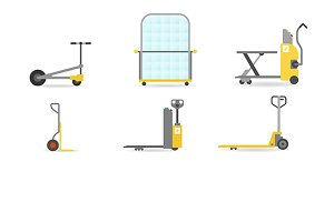 Pallet jacks and transport carts set