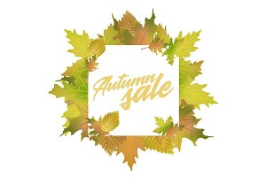 Autumn sale design concept with leaves and text title.