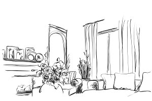 Room interior sketch. Window, sofa and furniture