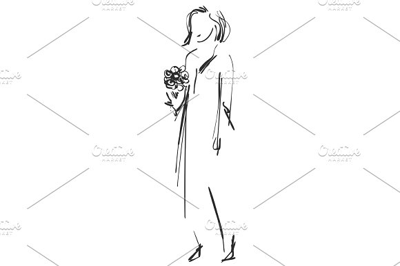 Fashion Sketch Cartoon Models Girls With Bouquet