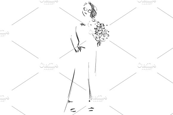 Fashion Sketch Cartoon Models Girls With Flowers