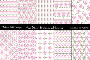 Pink Green Embroidered Patterns