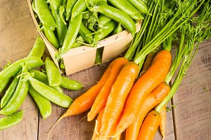Bunch of carrots with peas