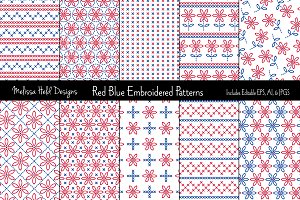 Red Blue Embroidered Patterns