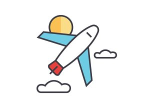 Airplane, air plane, airport, travel, aircraft, fly, flight concept. Line vector icon. Editable stroke. Flat linear illustration isolated on white background
