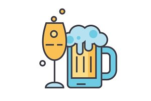 Beer, alcoholic drink, pub, beverage, pint, bottle concept. Line vector icon. Editable stroke. Flat linear illustration isolated on white background