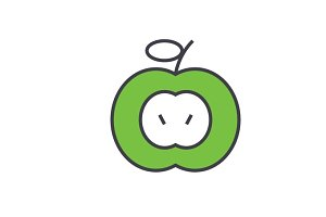 Green apple concept. Line vector icon. Editable stroke. Flat linear illustration isolated on white background