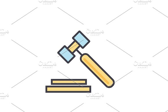 Auction Hammer Justice Law Legal Court Concept Line Vector Icon Editable Stroke Flat Linear Illustration Isolated On White Background