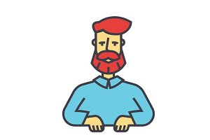 Bearded man, beard, boss, manager, barbershop, support concept. Line vector icon. Editable stroke. Flat linear illustration isolated on white background