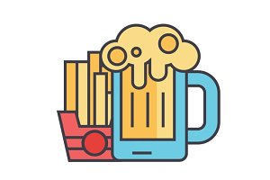 Beer craft, fries, fast food, man dinner, bistro, pub, brevery concept. Line vector icon. Editable stroke. Flat linear illustration isolated on white background