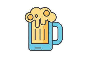 Beer glass, pint, drink, pub concept. Line vector icon. Editable stroke. Flat linear illustration isolated on white background