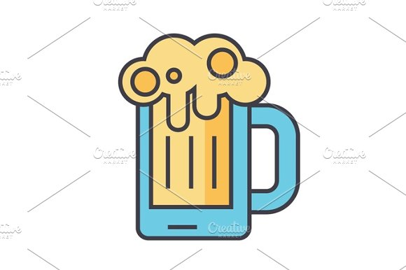 Beer Glass Pint Drink Pub Concept Line Vector Icon Editable Stroke Flat Linear Illustration Isolated On White Background