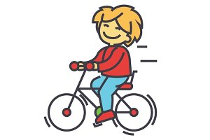 Bicycle, boy riding, children activity, play concept. Line vector icon. Editable stroke. Flat linear illustration isolated on white background
