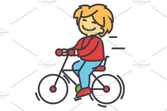 Bicycle Boy Riding Children Activity Play Concept Line Vector Icon Editable Stroke Flat Linear Illustration Isolated On White Background