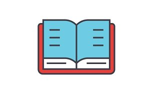 Open book, study, library concept. Line vector icon. Editable stroke. Flat linear illustration isolated on white background
